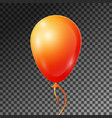 realistic orange balloon with ribbon isolated vector image