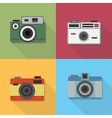 Retro camera icons set with long shadow vector image vector image