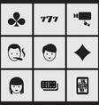 set of 9 editable excitement icons includes vector image vector image