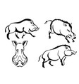 set of black images of wild boars abstract vector image vector image