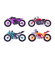 set of sportive bikes isolated motorized vehicles vector image