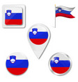 slovenia flag format country icon emblem vector image vector image