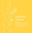 summer travel poster in a linear style vector image vector image
