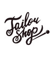tailor shop promo black logotype with sharp pin vector image vector image
