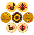 thanksgiving icons in circle frames vector image vector image