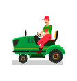 tractor driver character agricultural machinery vector image vector image