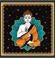 vintage meditating buddha vector image vector image