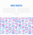 web traffic concept with thin line icons vector image vector image