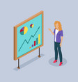 woman presenter by whiteboard vector image vector image