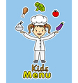 girl chef with healthy food vector image