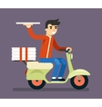 Pizza Delivery Courier Motorcycle Scooter Box vector image