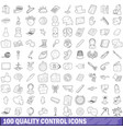 100 quality control icons set outline style vector image vector image