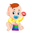 baby likes play with donut puzzle vector image