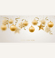banner with golden christmas decorative baubles vector image vector image