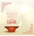 beautiful diwali wishes greeting with diya vector image vector image