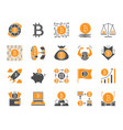 bitcoin simple color flat icons set vector image vector image
