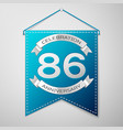 blue pennant with inscription eighty six years vector image vector image