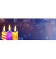 candle banner template realistic light bokeh vector image