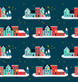 christmas houses on winter seamless pattern vector image