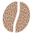 coffee bean collage of dollar vector image vector image