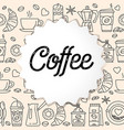 coffee line icons seamless pattern vector image vector image