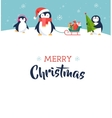 Cute penguin - Merry Christmas greeting card vector image vector image