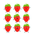 cute strawberry characters set with differen vector image vector image