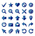 dark blue colored metal chrome web icons set vector image vector image