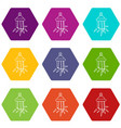 diamond amulet icons set 9 vector image