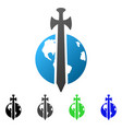 earth military protection flat gradient icon vector image vector image
