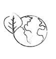 figure global earth planet with leaf symbol to vector image vector image