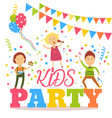 flat cartoon kid party banner poster invitation vector image vector image
