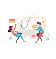 flat young businesswoman employee at project work vector image vector image