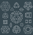 hand drawn polyhedrons collection vector image vector image