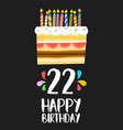 happy birthday cake card 20 twenty two year party vector image vector image