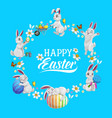 happy easter flower wreath with rabbits and eggs vector image vector image