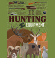 hunting equipment retro poster with forest animals vector image vector image