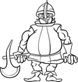 knight with axe cartoon coloring page vector image vector image