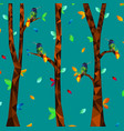 low poly colorful hummingbird with tree on vector image