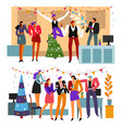 office party celebration business people drinking vector image