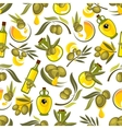 Olive fruits and oil bottles seamless pattern vector image vector image