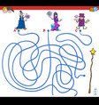 paths maze game with wizards and magic wand vector image vector image