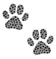 paw footprints collage of dots vector image