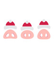 pig nose with santa hat chineese new year icons vector image