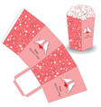 popcorn template for valentines day vector image vector image