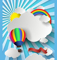rainbow on cloud with hot air balloon vector image vector image