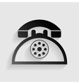 Retro telephone sign Black paper with shadow on vector image vector image
