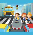 school children crossing street in city vector image vector image