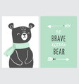 set cute nursery posters including bear tribal vector image