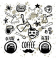 set hand-drawn coffee elements for cafe menu vector image